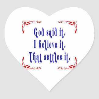 Four Flowers God Said Heart Sticker