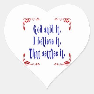 Four Flowers God Said Heart Sticker
