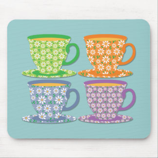 Four Flowery Tea Cups on Blue Mouse Pad