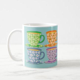 Four Flowery Tea Cups on Blue Classic White Coffee Mug