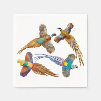 Four Flying Pheasants Paper Napkins
