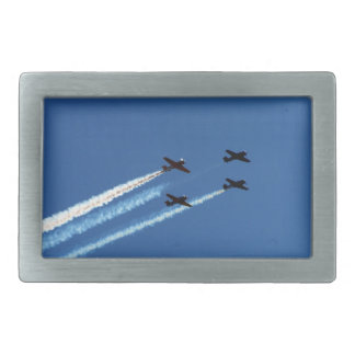 four flying planes with trails blue sky rectangular belt buckles