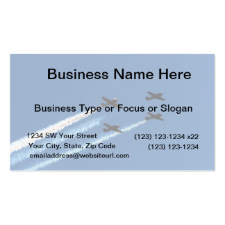 four flying planes with trails blue sky business cards