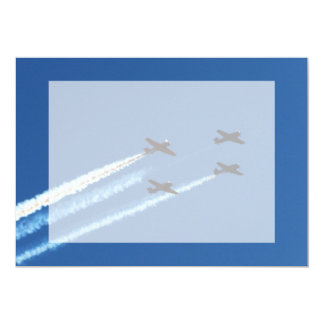 four flying planes with trails blue sky cards