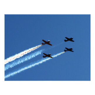 four flying planes with trails blue sky full color flyer