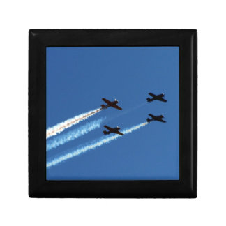 four flying planes with trails blue sky jewelry box