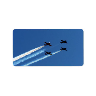four flying planes with trails blue sky personalized address labels