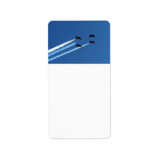 four flying planes with trails blue sky custom address label