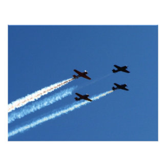 four flying planes with trails blue sky customized letterhead