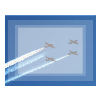 four flying planes with trails blue sky personalized letterhead