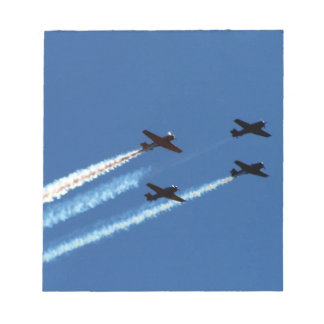 four flying planes with trails blue sky memo pads