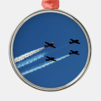 four flying planes with trails blue sky christmas tree ornaments