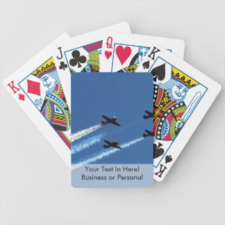 four flying planes with trails blue sky bicycle poker cards