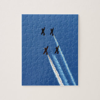 four flying planes with trails blue sky jigsaw puzzle