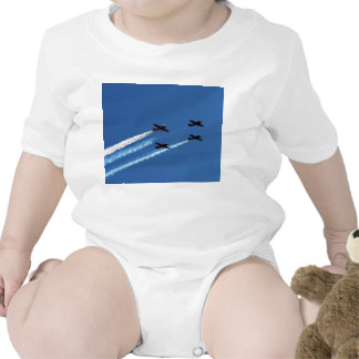 four flying planes with trails blue sky t-shirts