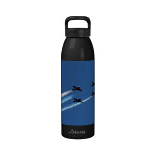 four flying planes with trails blue sky drinking bottle