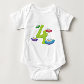 Four flying saucers baby bodysuit