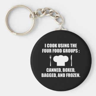 Four Food Groups Basic Round Button Keychain