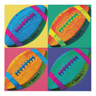 Four Footballs in Different Colors Panel Wall Art