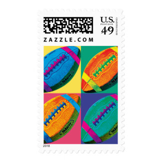 Four Footballs in Different Colors Postage Stamp