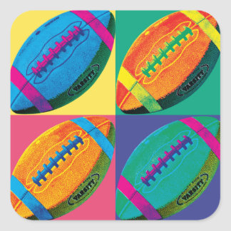 Four Footballs in Different Colors Square Sticker