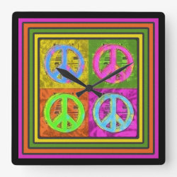 FOUR FOR PEACE Clock