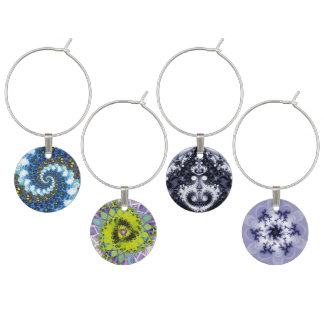 Four Fractals Wine Glass Charms