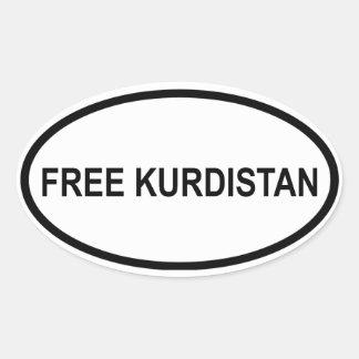 """FOUR """"Free Kurdistan"""" Oval Sticker"""