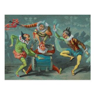 Four French Clowns Postcard