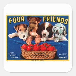 Four Friends Square Sticker