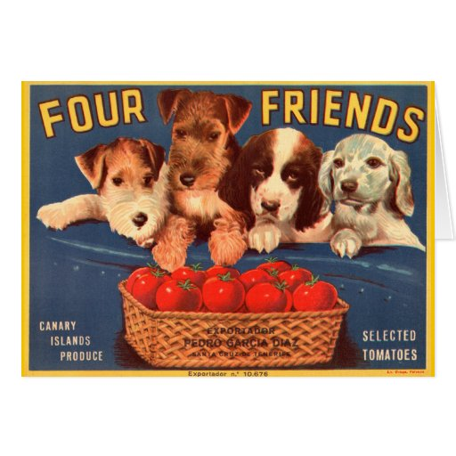 Four Friends Vintage Tomato Crate Label Cards