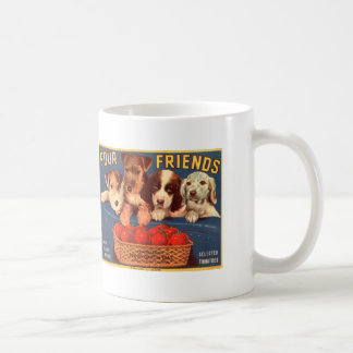 Four Friends Vintage Tomato Crate Label Dogs Coffee Mug