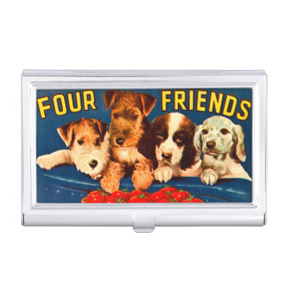 Four Friends Vintage Vegetable Ad Dogs Business Card Holder