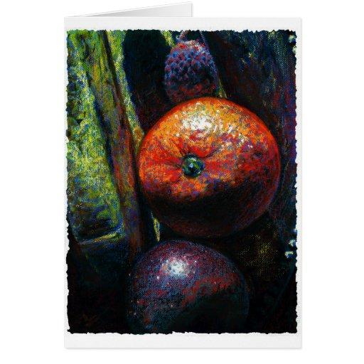 Four Fruits: Orange, Banana, Plum, Lychee Card