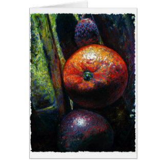 Four Fruits: Orange, Banana, Plum, Lychee Stationery Note Card
