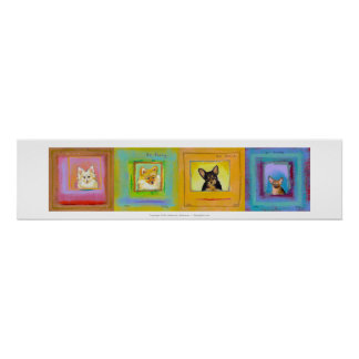 Four fun cute dogs pomeranians chihuahuas art poster