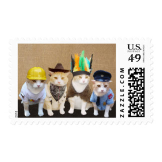 Four Funny Cats Custom Stamps