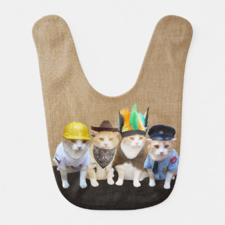Four Funny Cats/Village Kitties Baby Bibs