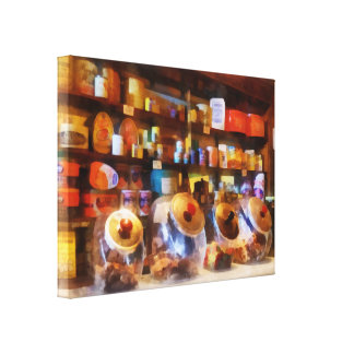 Four Glass Candy Jars Stretched Canvas Print