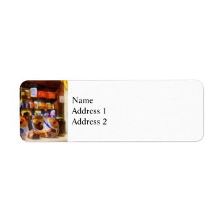 Four Glass Candy Jars Label