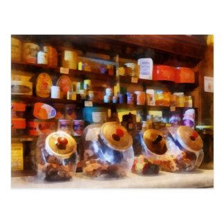 Four Glass Candy Jars Postcard