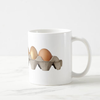 Four golden and one chicken eggs classic white coffee mug
