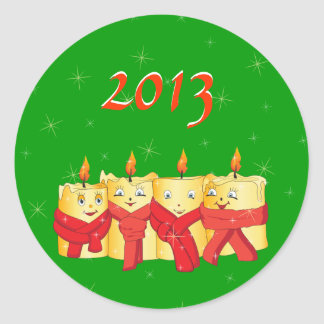 Four golden candles with red scarfs 2013 classic round sticker
