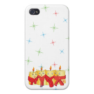 Four golden candles with red scarfs case for iPhone 4