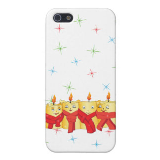Four golden candles with red scarfs cover for iPhone SE/5/5s