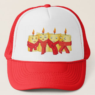 Four golden candles with red scarfs trucker hat