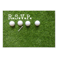 Four golf balls with tee  R.S.V.P. on green Invitation