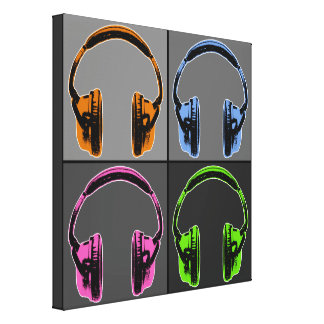 Four Graphic Headphones Gallery Wrapped Canvas