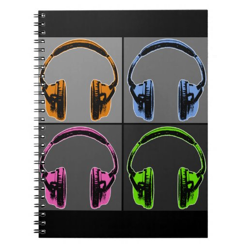 Four Graphic Headphones Notebook