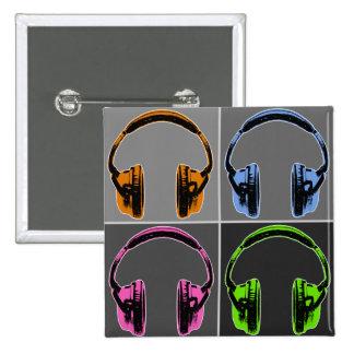 Four Graphic Headphones Pinback Button